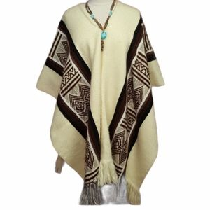 Hand crafted poncho cape Aztec prints 100% acrylic